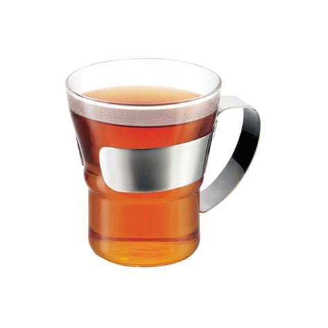 bodum bicchieri assam tea glass with stainless steel handle by bodum