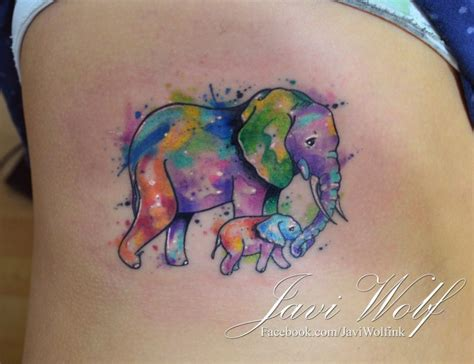 sentimental tattoos sentimental and baby elephant colored on