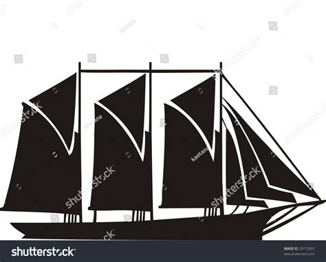 sailing boat with 3 masts old sailing ship gaff schooner with 3 masts stock vector