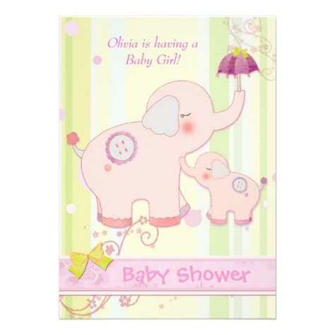 Pink Elephant Baby Shower by Pink Elephant Umbrella Baby Shower Invitation 5 Quot X 7