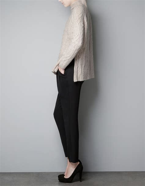 zara cable knit jumper zara cable knit sweater in lyst