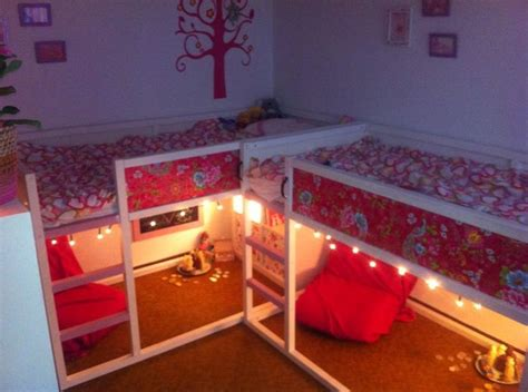 painted ikea kura bed add wallpaper and lights