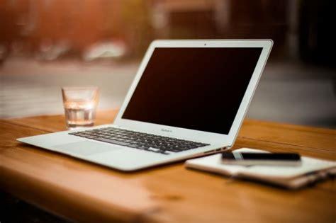 laptop office desk laptop on office desk photo free