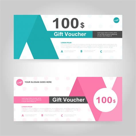 templates for vouchers design green and pink gift voucher template vector free download