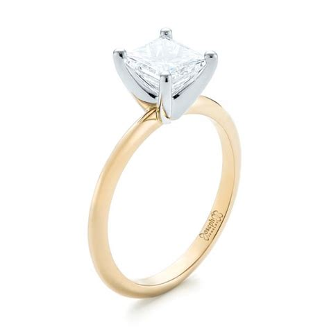 custom two tone solitaire engagement ring 103447