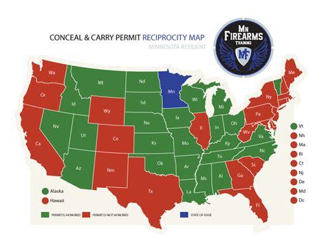 ccw reciprocity map carry permit maps mn firearms