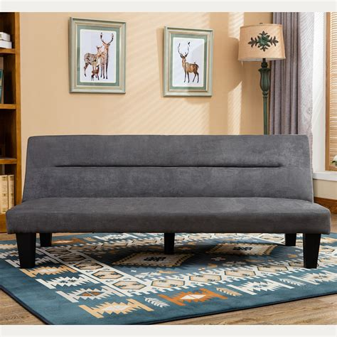 lounge futon futon sofa bed furniture gray sleeper lounger convertible