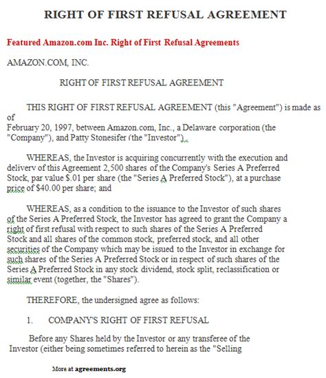 Right Of First Refusal Agreement Sle Right Of First Refusal Agreement Template Right Of Refusal Template Real Estate
