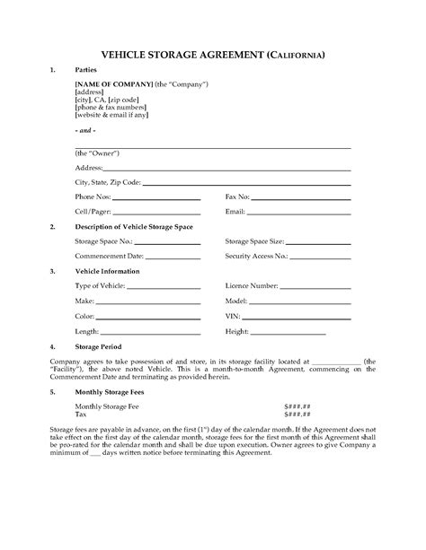 Home Plans Oklahoma California Vehicle Storage Agreement Legal Forms And