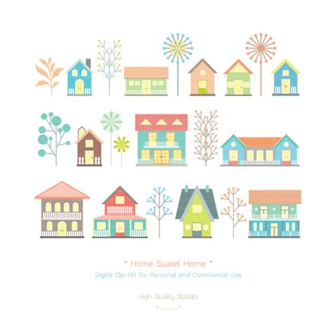 home sweet home digital clip houses clip by idadrawing