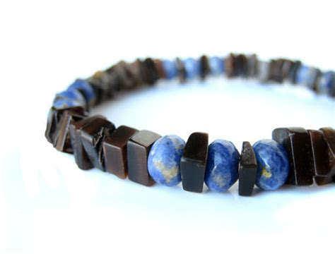 Mens Handmade Jewelry - s bracelet mens surfer jewelry handmade from blue