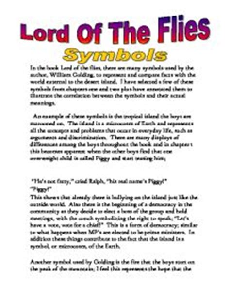 Lord Of The Flies Essay Ideas by Lord Of The Flies Symbols Gcse Marked By Teachers