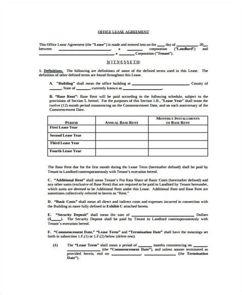sle office lease agreement template best resumes