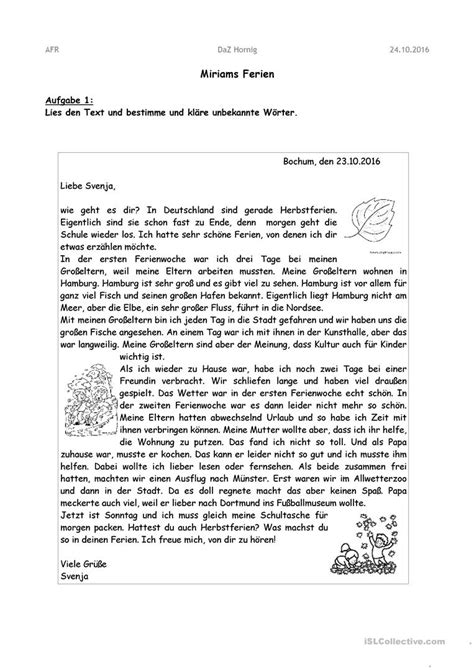 Offizieller Brief Daf briefe schreiben arbeitsblatt kostenlose daf arbeitsbl 228 tter