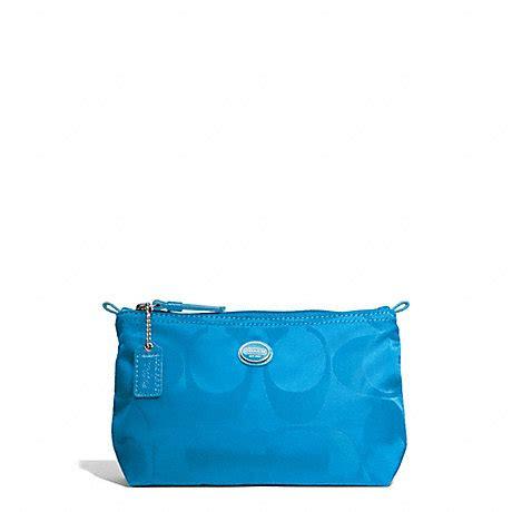 Mini Make Up Pouch Blue coach f77382 getaway signature mini cosmetic pouch silver blue coach accessories