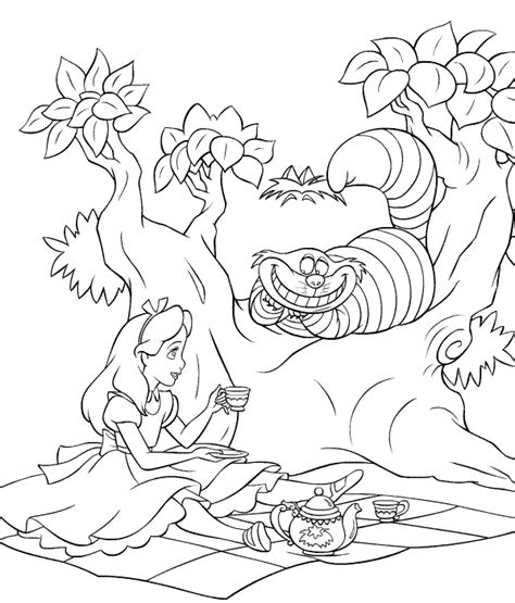 alice in wonderland coloring pages kids world