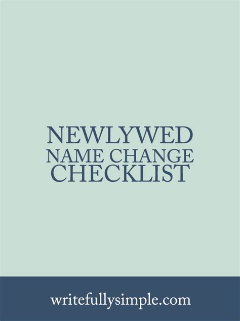 Wedding Checklist Name Change by Newlywed Name Change Checklist Writefully Simple