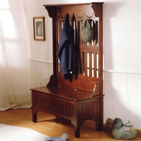 Foyer Tree entryway tree coat rack with storage bench in cherry