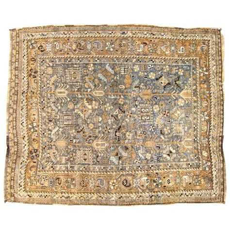 small square rugs vintage shiraz rug in small square size with soft earth tones for sale at 1stdibs