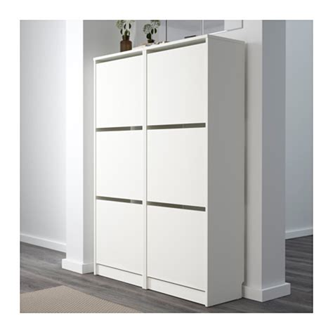 ikea shoe cabinet bissa shoe cabinet with 3 compartments white 49x135 cm ikea