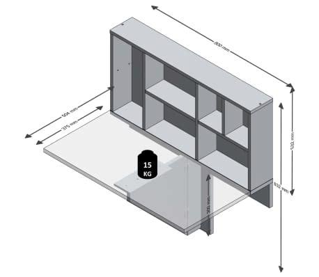 mensola a ribalta fmd tavolo a ribalta da parete con mensola bianco 658 002