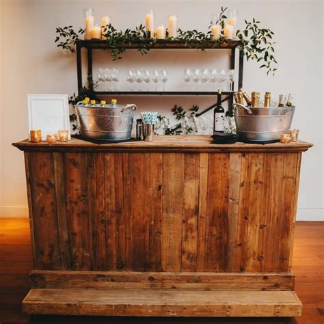 wooden plank bar  party time rentals