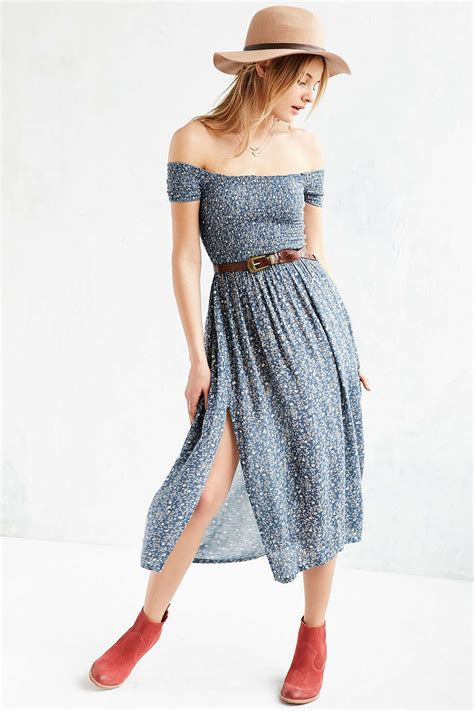 Outfitters Picnic Shirt Dresses by Kimchi Blue Picnic Smocked The Shoulder Midi Dress In