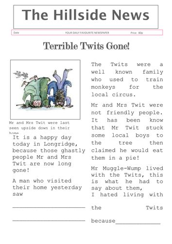 roald dahl book review template the twits newspaper article by lbaggley teaching