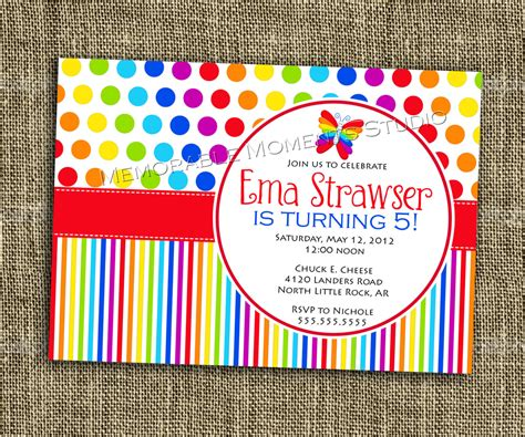 colorful invitation card template printable invitation rainbow collection bright and