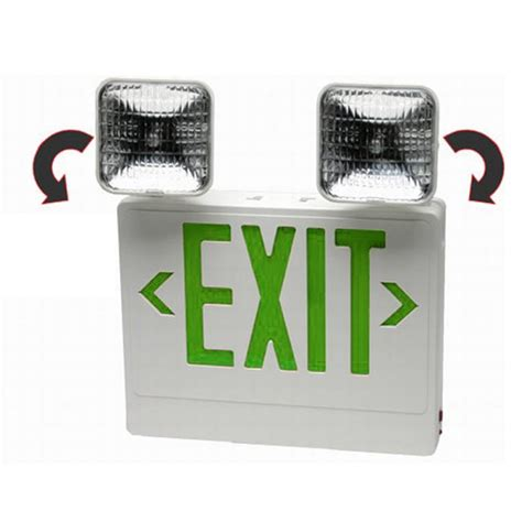 combination emergency exit sign and light with battery backup 120v exit sign emergency light combo bing images