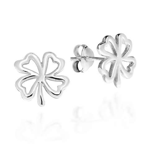 Four Leaf Clover Stud Earring charmed four leaf clover sterling silver stud