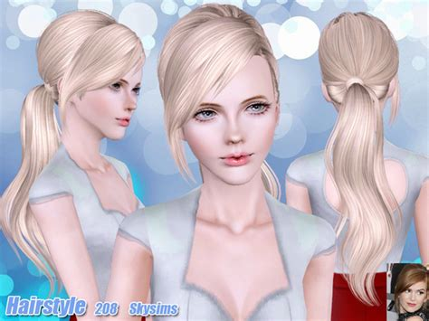 small ponytail hairstyle 228 by skysims sims 3 hairs the sims 3 ponytail with bangs hairstyle 208 by skysims