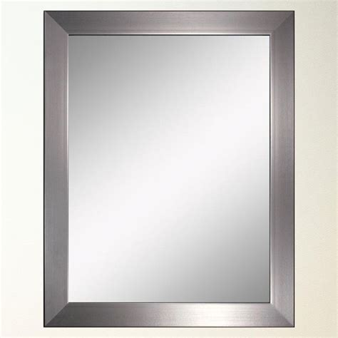 Brushed Nickel Wall Mirror Bathroom Modern Brush Nickel Wall Mirror 26 Quot X32 Quot 8882 Framed Mirrors Brushed Nickel