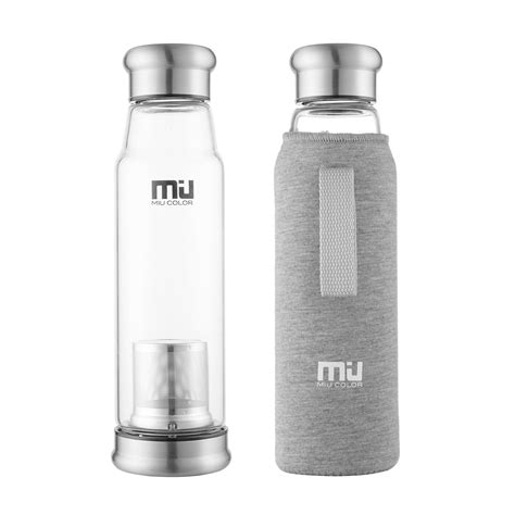 Glass Water Bottle With miu color glass water bottle with infuser giveaway