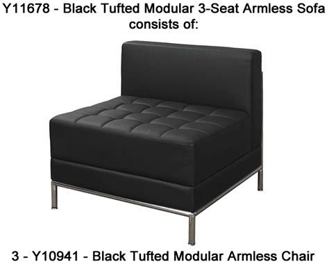 black tufted sofa black tufted modular 3 seat armless sofa