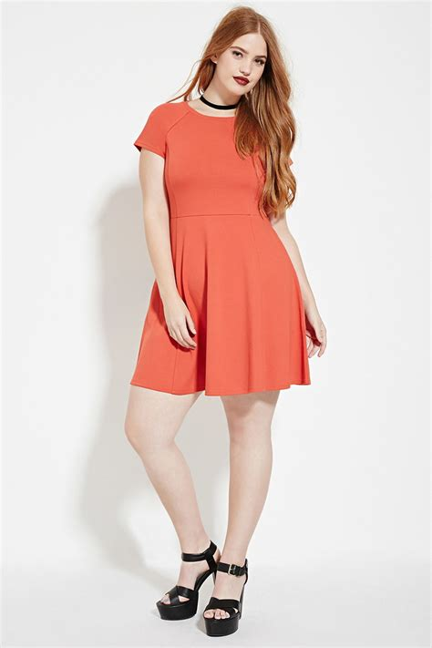 Forever21 Orange Dress forever 21 plus size fit and flare dress in orange lyst