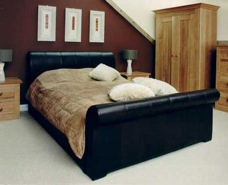 Handmade Sleigh Bed - leather sleigh bed from pinetum the handcrafted