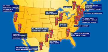 us map of six flags six flags at a glance six flags
