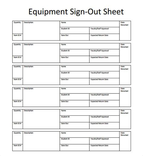 Equipment Sign Out Sheet Template sle sign out sheet template 8 free documents
