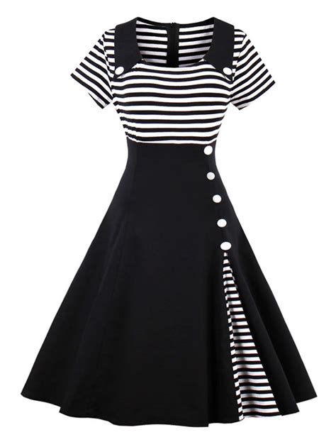 Dress Hoodie Fashion vintage striped buttoned pin up dress in black 2xl sammydress