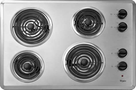 stainless steel cooktop electric whirlpool wcc31430ar 30 quot coil electric cooktop with 4 coil