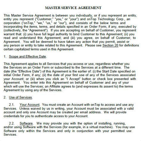 master contract template master service agreement 9 free sles exles format