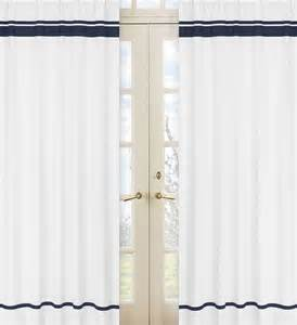 Navy Window Curtains White And Navy Modern Hotel 84 Inch Curtain Panel Pair Contemporary Curtains By Overstock