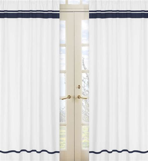 White Panel Curtains White And Navy Modern Hotel 84 Inch Curtain Panel Pair Contemporary Curtains By Overstock