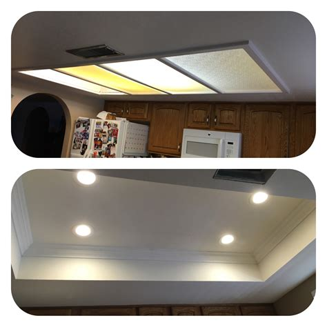 Converting Fluorescent Light Fixtures Az Recessed Lighting Kitchen Conversion One Of Our Great Passions Removal Of Tray Ceiling And