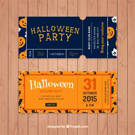 pack of tickets to celebrate halloween vector free download