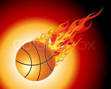 Creative Home Decoration by Fiery Basketball Ball Flying Downwards On A Black