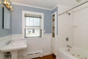 Small Pedestal Sink Kohler Cottage Full Bathroom With Wainscoting Amp Drop In Bathtub