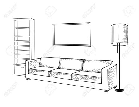 how to draw a living room outline sketch interior living room stock vector 302898200