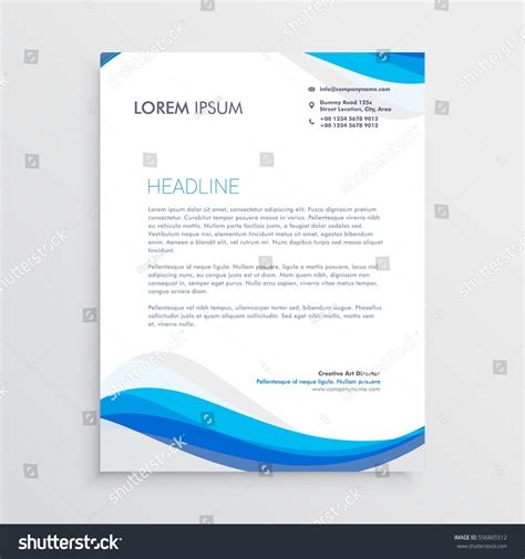plantilla business letterhead with blue waves business blue wave style letterhead template stock vector